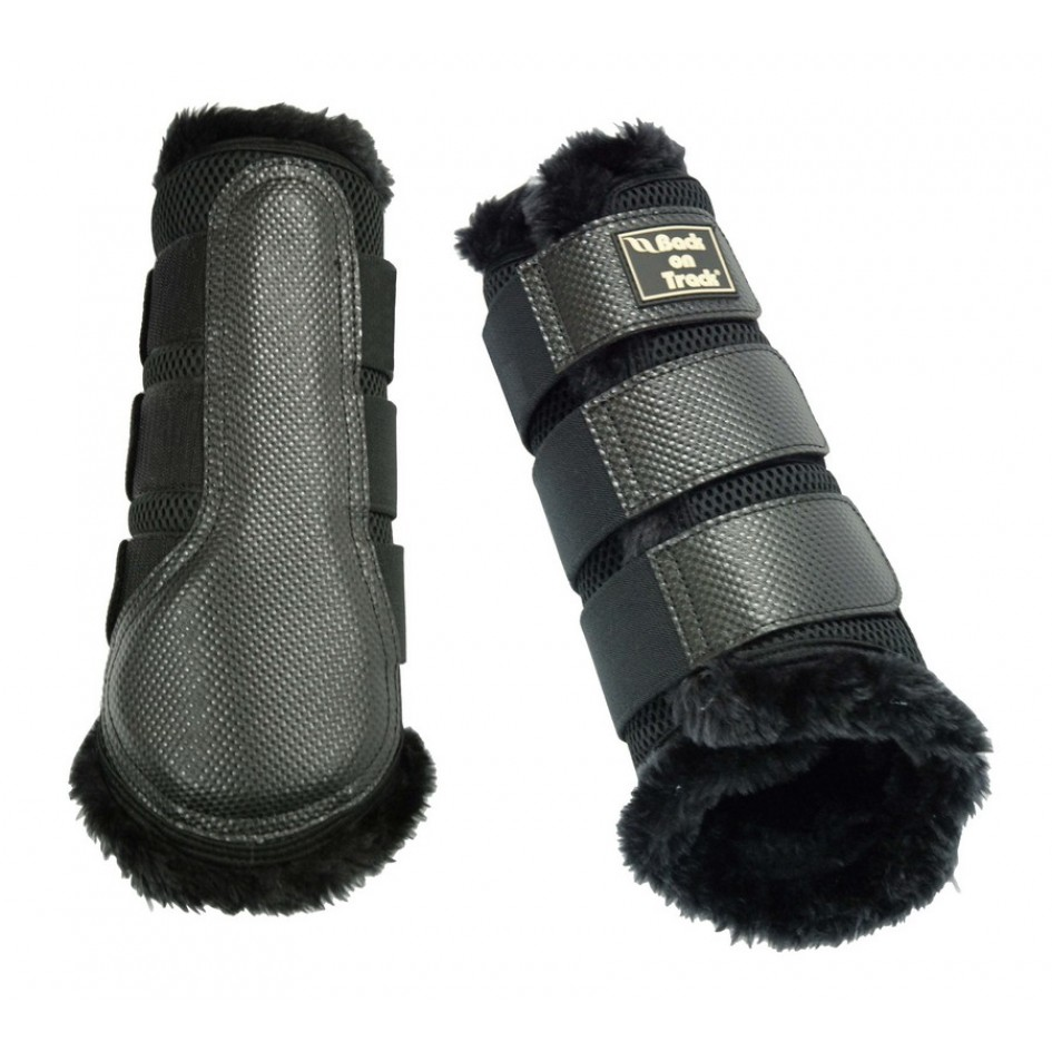 2081 priority 3d mesh brushing boots with fake fur black 2